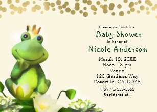 Frog baby shower invitations zazzle frog prince green gold baby shower invitations filmwisefo