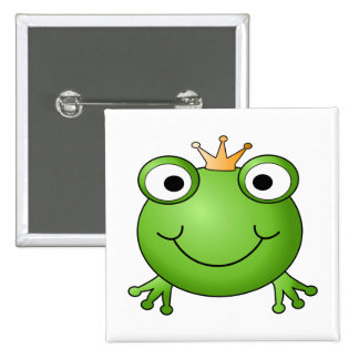 Frog Prince. Happy Frog. 2 Inch Square Button