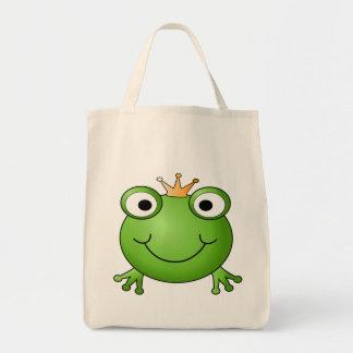 Frog Prince. Happy Frog. Grocery Tote Bag