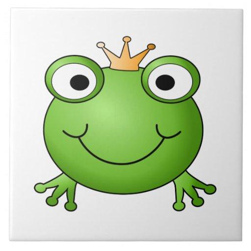 Frog Prince. Happy Frog. Ceramic Tile