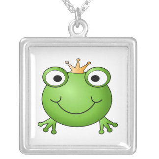Frog Prince. Happy Frog. Square Pendant Necklace