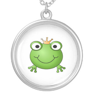 Frog Prince. Happy Frog. Round Pendant Necklace