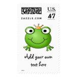 Frog Prince. Happy Frog. Postage Stamp