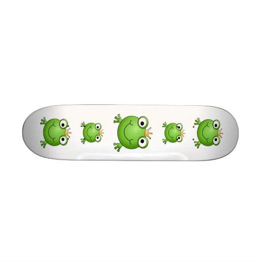 Frog Prince. Happy Frog. Skateboard