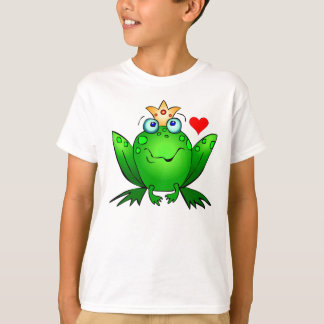 Frog Prince Heart and Crown Cartoon T-Shirt