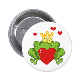 Frog Prince Holding A Red Heart 2 Inch Round Button