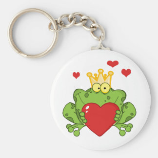 Frog Prince Holding A Red Heart Keychain