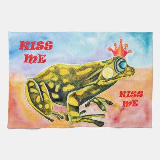 Frog Prince Kiss Me kitchen/hand towel