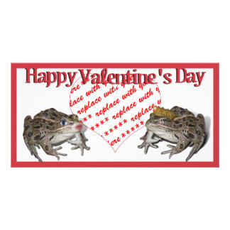 Frog Prince & Kissing Frog Valentine Photo Frame Card