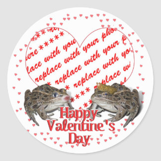 Frog Prince & Kissing Frog Valentine Photo Frame Classic Round Sticker