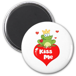 Frog Prince On A Red Heart Magnet