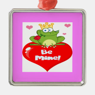 Frog Prince On A Red Heart Metal Ornament