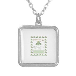 Frog Prince Pregnancy Announcement Square Pendant Necklace