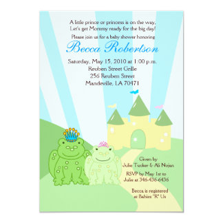 Frog Prince & Princess 5x7 Baby Shower Invitation