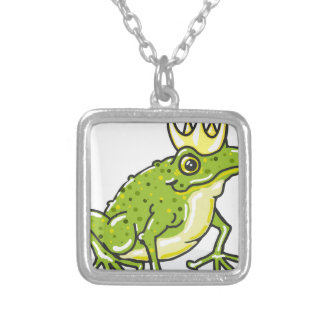 Frog Prince Princess Sketch Silver Plated Necklace