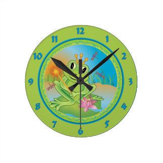 Frog Prince Round Clock