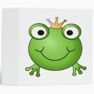 Frog Prince. Smiling Frog with a Crown. 3 Ring Binder