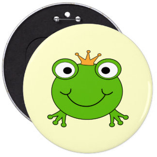 Frog Prince. Smiling Frog with a Crown. 6 Inch Round Button