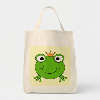Frog Prince. Smiling Frog with a Crown. Grocery Tote Bag