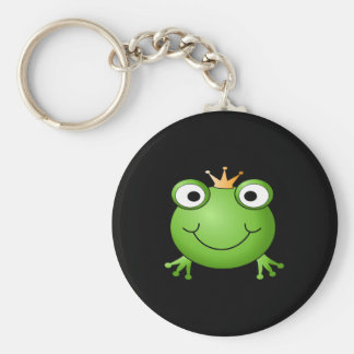 Frog Prince. Smiling Frog with a Crown. Basic Round Button Keychain