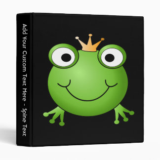 Frog Prince. Smiling Frog with a Crown. Binder