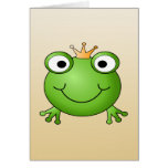 Frog Prince. Smiling Frog with a Crown. Cards