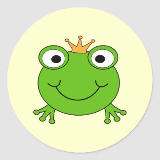 Frog Prince. Smiling Frog with a Crown. Classic Round Sticker