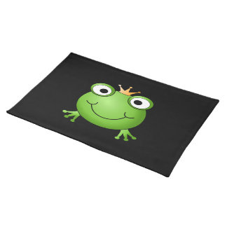 Frog Prince. Smiling Frog with a Crown. Cloth Placemat