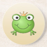 Frog Prince. Smiling Frog with a Crown. Beverage Coaster