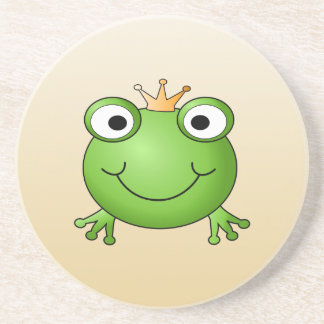 Frog Prince. Smiling Frog with a Crown. Drink Coaster