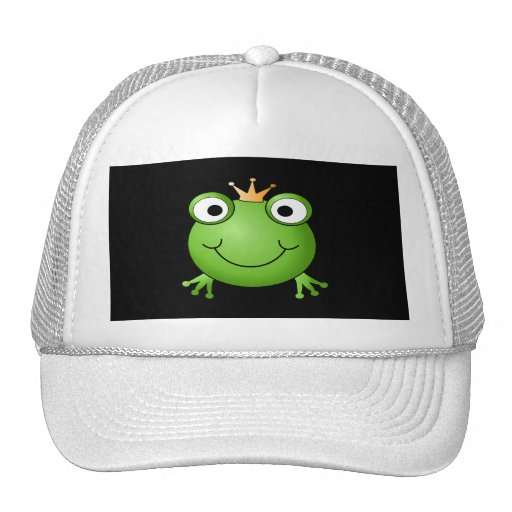 Frog Prince. Smiling Frog with a Crown. Trucker Hat