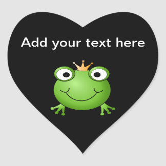 Frog Prince. Smiling Frog with a Crown. Heart Sticker