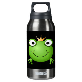 Frog Prince. Smiling Frog with a Crown. Insulated Water Bottle