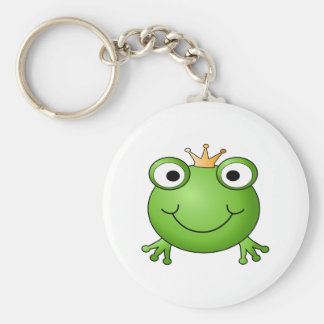 Frog Prince. Smiling Frog with a Crown. Keychain
