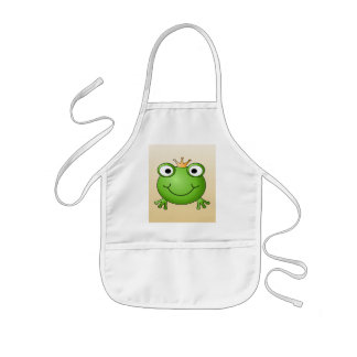 Frog Prince. Smiling Frog with a Crown. Kids' Apron
