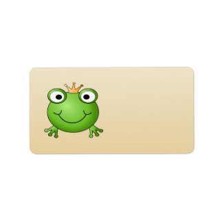 Frog Prince. Smiling Frog with a Crown. Label