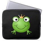 Frog Prince. Smiling Frog with a Crown. Laptop Computer Sleeves