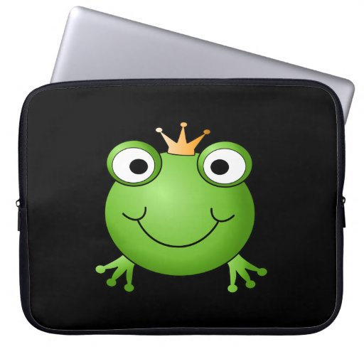 Frog Prince. Smiling Frog with a Crown. Computer Sleeves