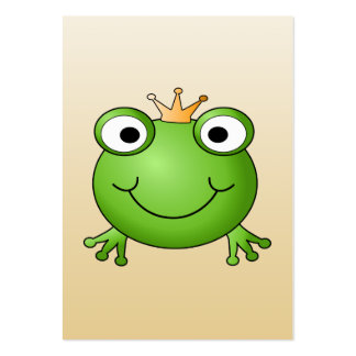 Frog Prince. Smiling Frog with a Crown. Large Business Card
