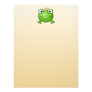 Frog Prince. Smiling Frog with a Crown. Letterhead