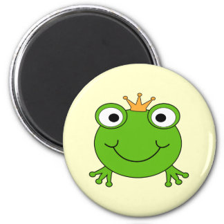 Frog Prince. Smiling Frog with a Crown. 2 Inch Round Magnet