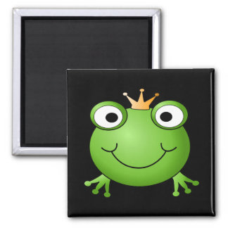 Frog Prince. Smiling Frog with a Crown. Magnet