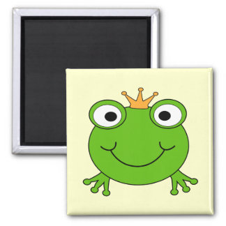 Frog Prince. Smiling Frog with a Crown. 2 Inch Square Magnet