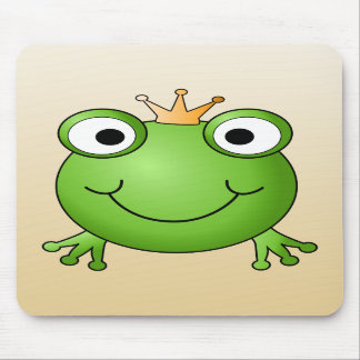 Frog Prince Smiling Frog with a Crown Mouse Pads