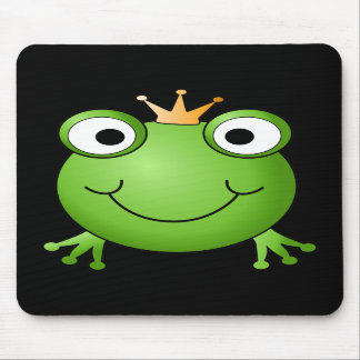 Frog Prince Smiling Frog with a Crown Mousepads