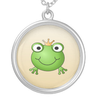 Frog Prince. Smiling Frog with a Crown. Round Pendant Necklace