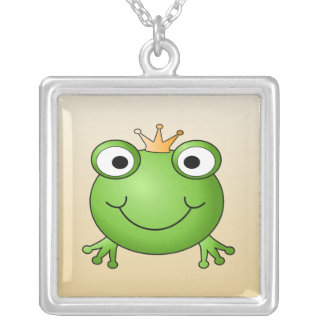 Frog Prince. Smiling Frog with a Crown. Square Pendant Necklace