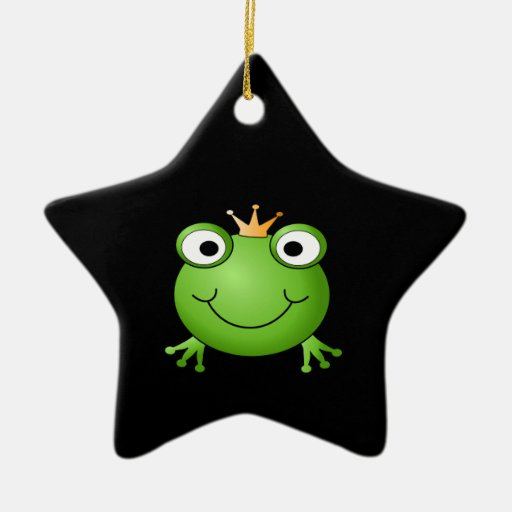 Frog Prince. Smiling Frog with a Crown. Christmas Ornament