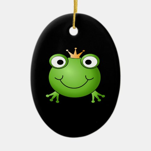 Frog Prince. Smiling Frog with a Crown. Double-Sided Oval Ceramic Christmas Ornament