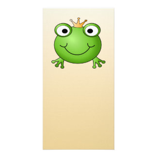Frog Prince. Smiling Frog with a Crown. Picture Card